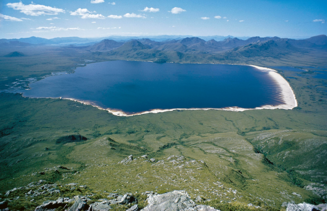 Lake Pedder from the Franklands. Les Southwell